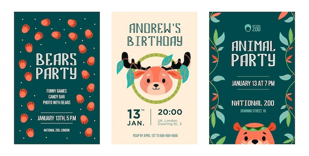 Invitation cards set with wild animals. friendly cartoon reindeer, bear with decoration in boho style