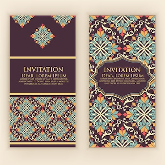 Invitation, cards with ethnic arabesque elements. arabesque style design. elegant floral abstract ornaments. front and back side of card. business cards.