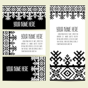 Invitation, cards with ethnic ornamental elements