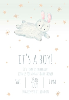 Invitation to childrens party its a boy cute watercolor childrens illustration with a rabbit