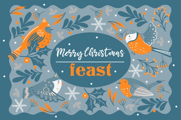 Invitation to christmas feast. winter birds and twigs.