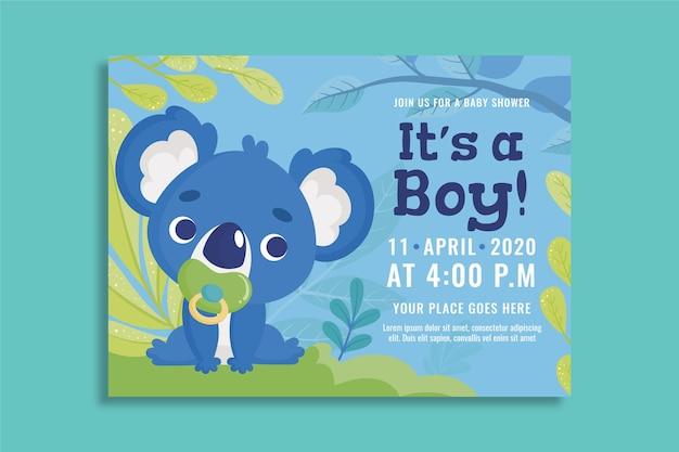 男の子のベビーシャワーの招待状のデザイン