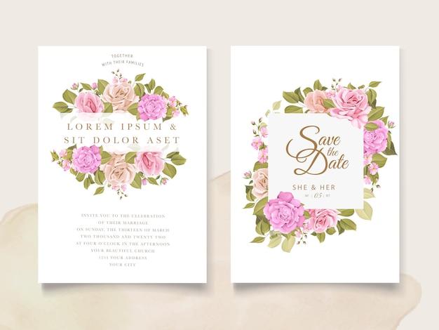 Invitation design with floral wreath