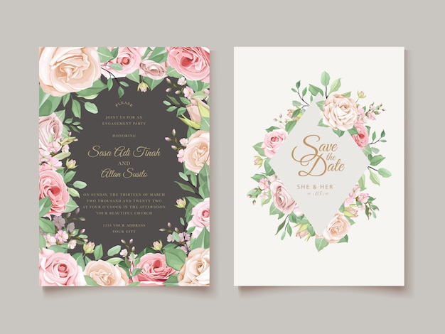 Invitation design with floral wreath