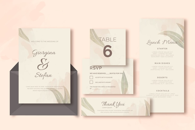 Invitation and envelopes with leaves wedding stationery template