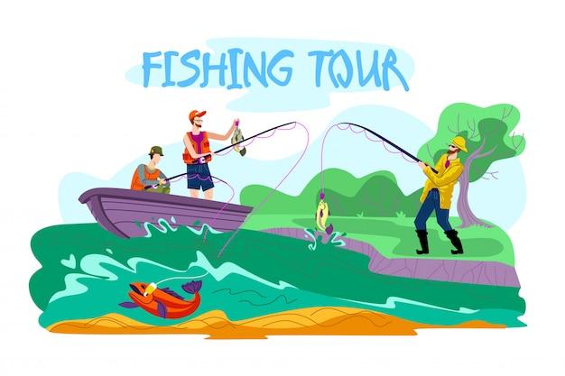 Invitation flyer is written fishing tour cartoon