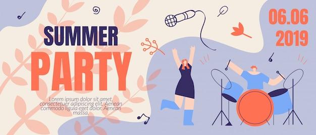 Invitation flyer summer party banner order ticket