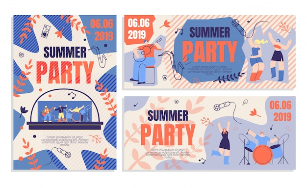 Invitation flyer summer party banner order ticket