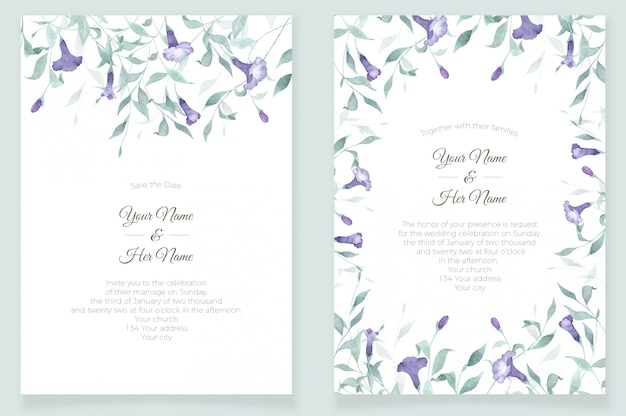 Invitation frame card template watercolor flowers and greenery
