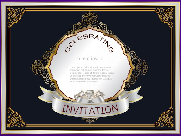 Invitation frame wedding on black