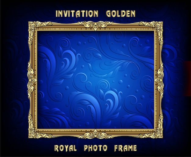 Invitation of golden photo frame vector design