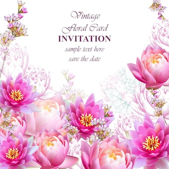 Invitation or greeting card with water lily flowers