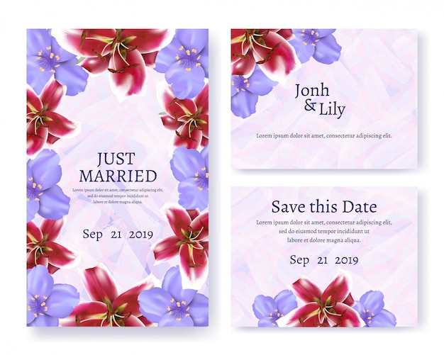 Invitation and greeting text card set for wedding