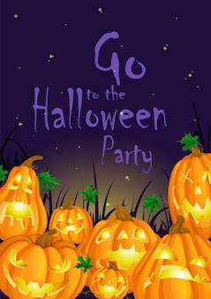 Invitation for halloween party with funny and scary luminous pumpkins