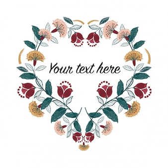 Invitation heart frame set; boho flowers, leaves, watercolor, isolated.