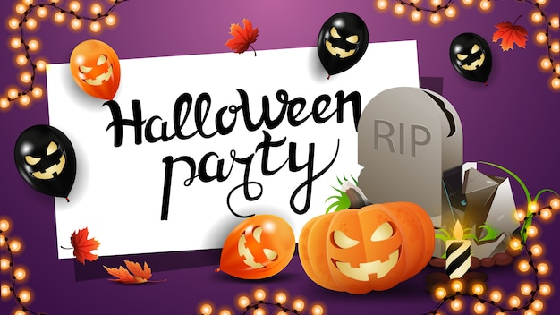 Invitation horizontal purple poster for halloween party with tombstone and pumpkin jack
