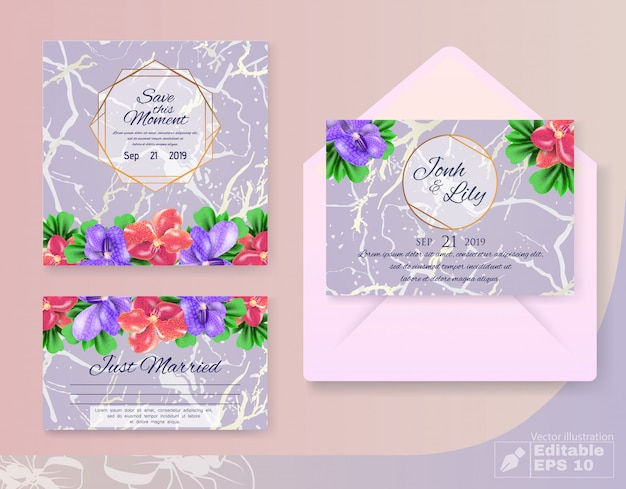 Invitation marriage cards set with flowers decor