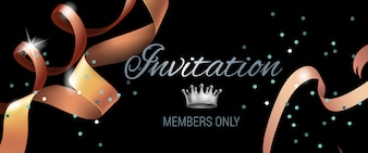 Invitation members only banner with swirl ribbons