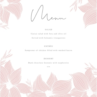 Invitation menu template with hand drawn flowers
