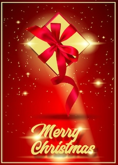 Invitation merry christmas card design template. Happy holiday  with gift boxes