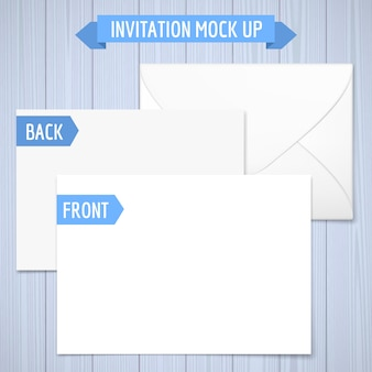 Invitation mock up. wooden background. front, back and envelope. realistic illustration with shadow.