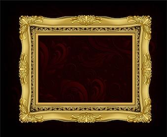 Invitation of Golden Photo Frame vector design