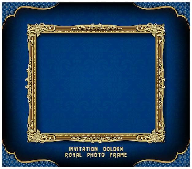 Приглашение золотой фоторамки дизайн вектор
