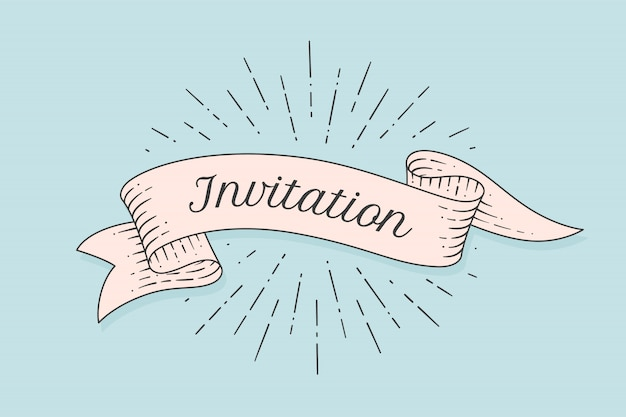 Invitation. old ribbon