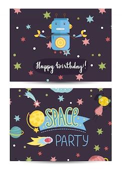 子供の衣装を着た誕生日パーティーテンプレートへの招待