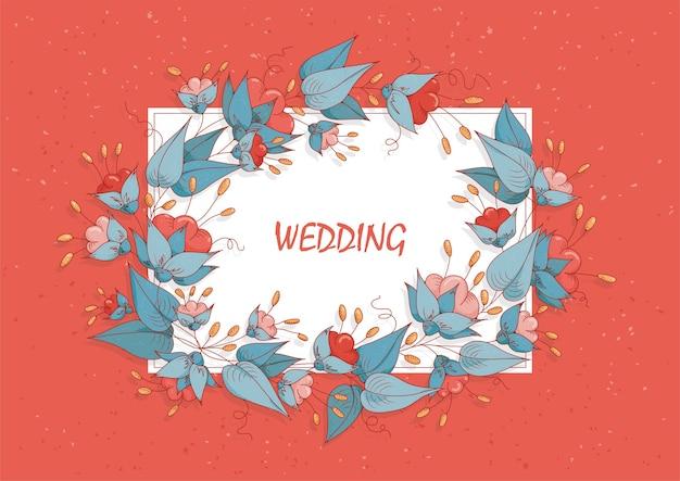 招待状やグリーティングカード。ピンクの花と青い葉の花輪。
