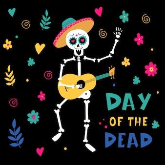 Приглашение на день мертвых партии скелет марьячи векторные иллюстрации изолированные