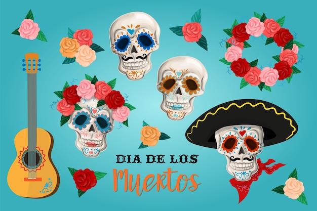 Invitation set to the day of the dead party. dea de los muertos card