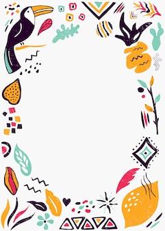 Шаблон приглашения, баннер, открытка с цветочными и этническими элементами. для детского душа, празднования дня рождения, вечеринки
