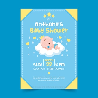 Invitation template for boy baby shower
