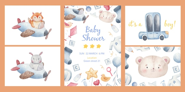 Invitation template for a children's party, baby shower, children's set of things for a baby, cars, socks, balls, balls, clothes, pacifier, bottle, bib in watercolor