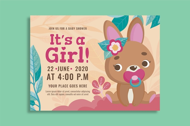 Invitation template for girl baby shower