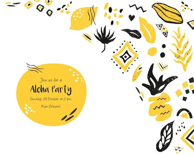 Шаблон приглашения, горизонтальный баннер, открытка с цветочными и этническими элементами. для детского душа, празднования дня рождения, вечеринки