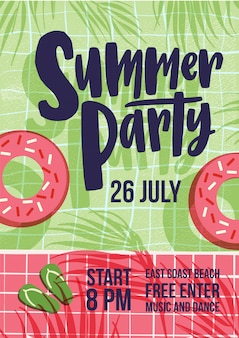 Invitation template for summer open air party with water pool, swim tube, shadows of exotic tropical palm trees and flip flops and place for text. flat vector illustration