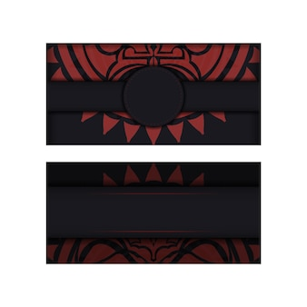 Шаблон приглашения с местом для текста и лицом в орнаменте в полизенском стиле. векторный дизайн открытки черного цвета с маской богов.