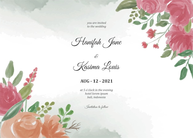 Invitation template with flower frame and watercolor background