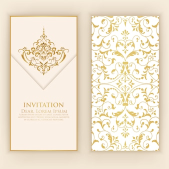 Invitation template with golden damask ornaments