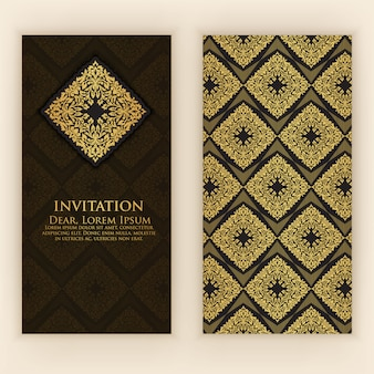 Invitation template with golden decoration