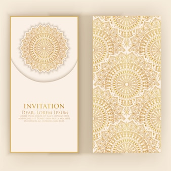 Invitation template with golden mandala
