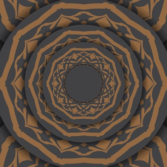 텍스트 및 빈티지 패턴을 위한 공간이 있는 초대 템플릿입니다. 그리스 패턴 벡터 회색조 인사말 카드 디자인입니다.