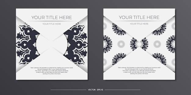 Invitation template with space for your text and vintage patterns. vector white color postcard design with greek patterns.