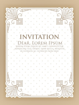 Invitation template with vintage ornamental frame