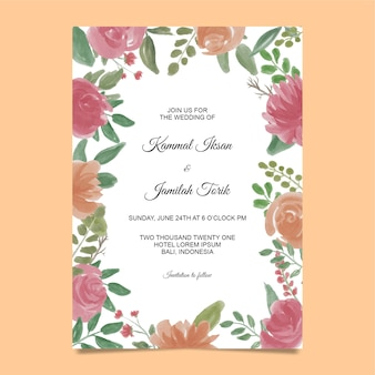 Invitation template with watercolor flower frame