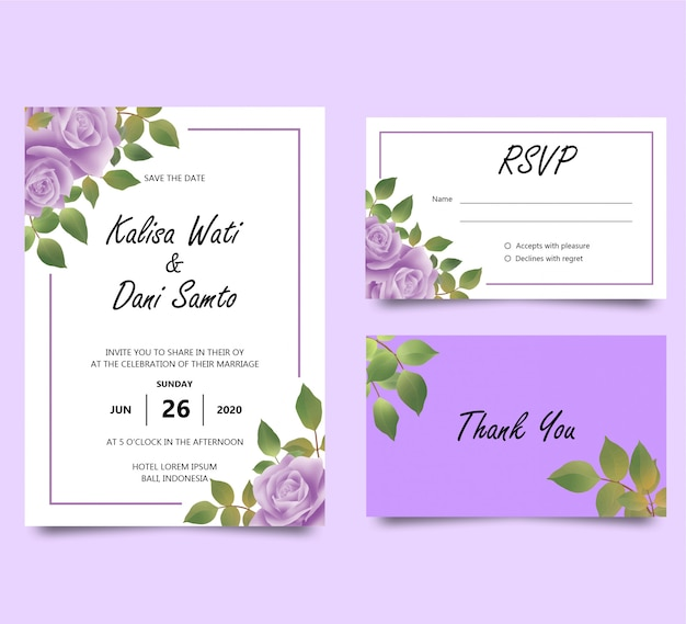 Invitation template with watercolor purple rose decorations