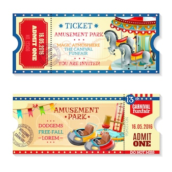Invitation tickets to carnival in amusement park