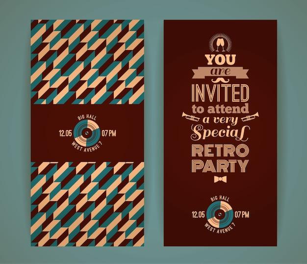 복고풍 파티에 초대합니다. 빈티지 레트로 기하학적 배경입니다.